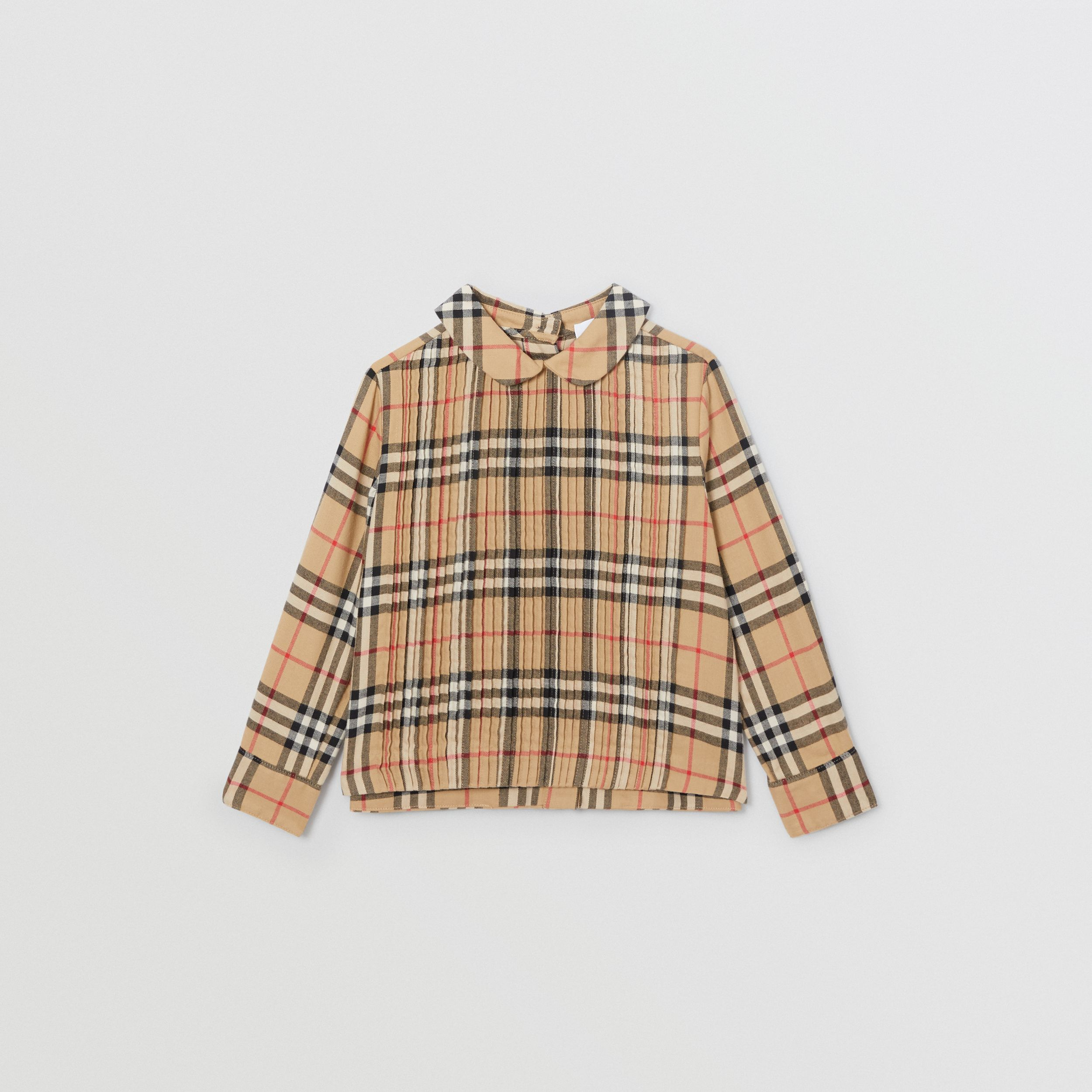 Pintuck Detail Vintage Check Cotton Twill Blouse in Archive Beige | Burberry United Kingdom - 1