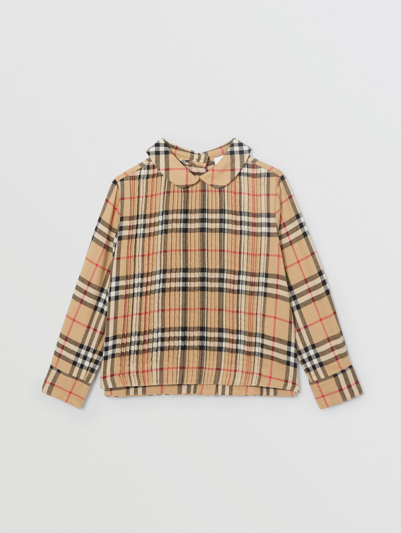 Pintuck Detail Vintage Check Cotton Twill Blouse in Archive Beige