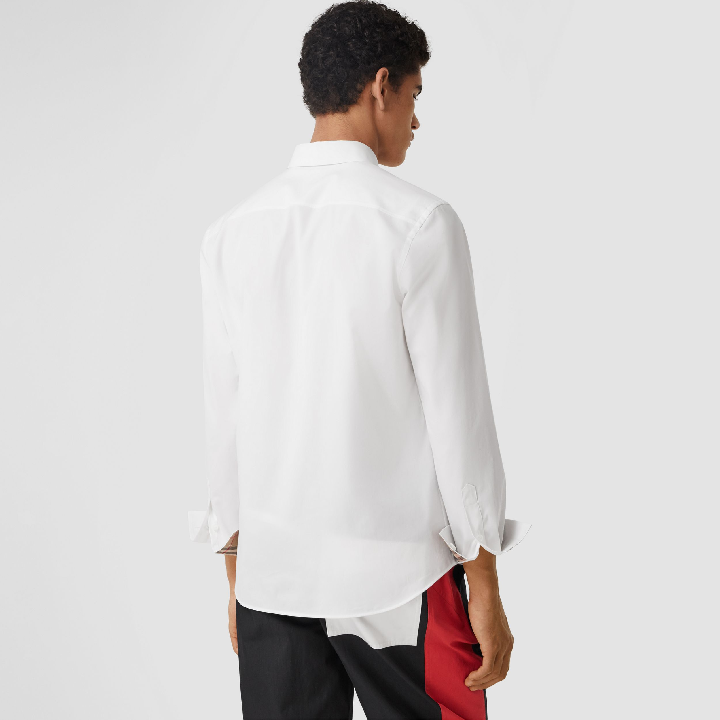 Slim Fit Monogram Motif Stretch Cotton Poplin Shirt in White - Men | Burberry - 3