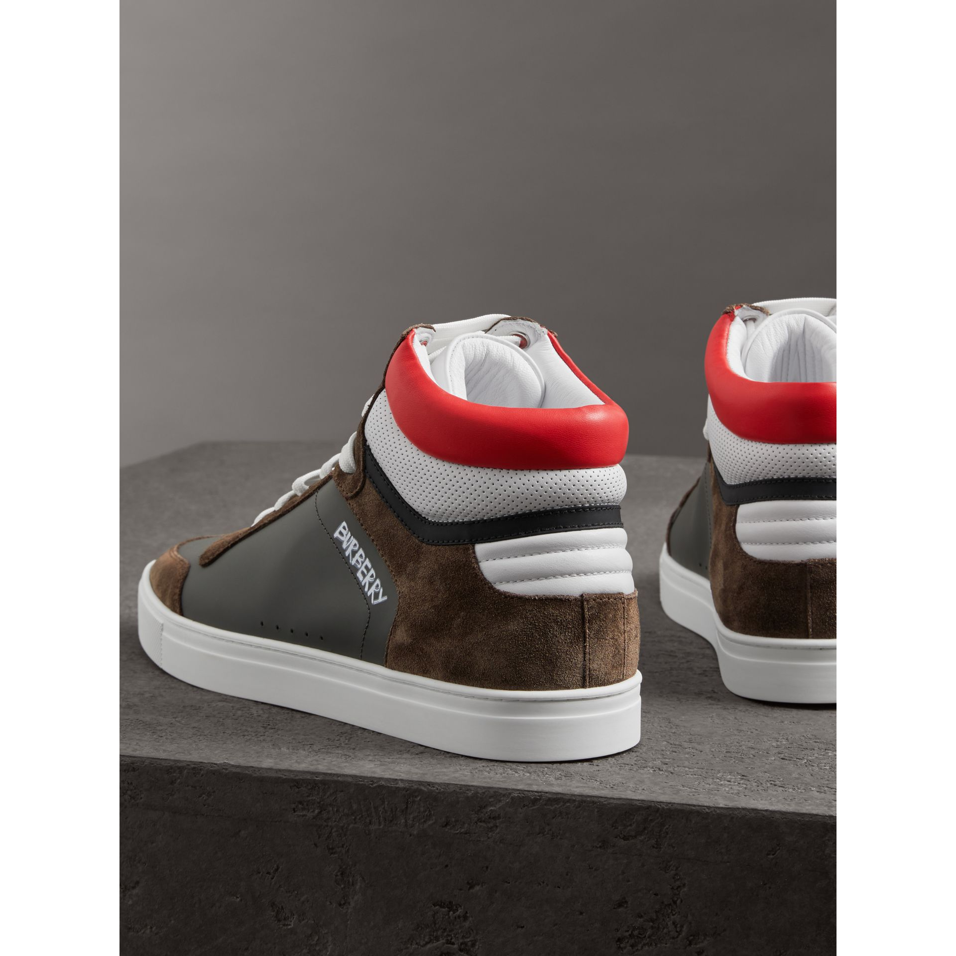 Suede and Leather High-top Sneakers in Steel Grey - Men | Burberry United Kingdom - gallery image 3