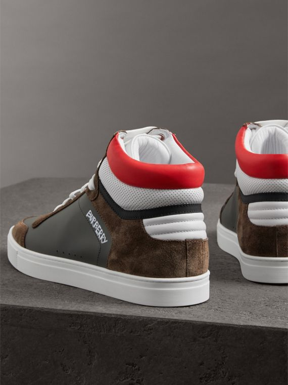 Suede and Leather High-top Sneakers in Steel Grey - Men | Burberry - cell image 2