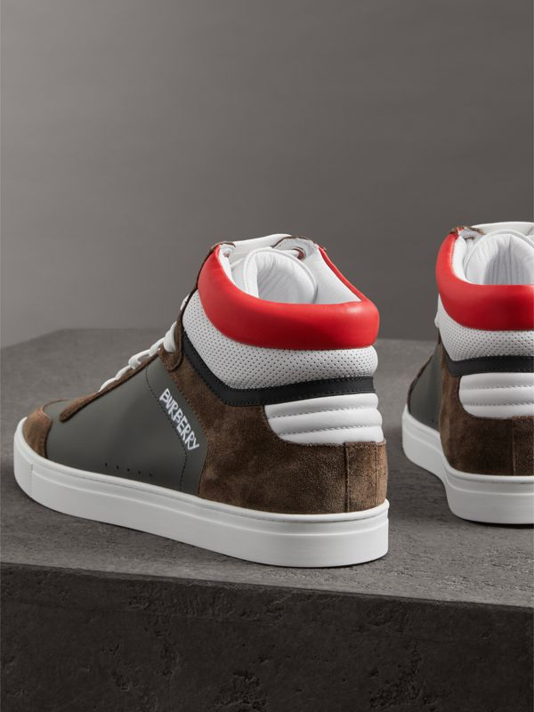 Suede and Leather High-top Sneakers in Steel Grey - Men | Burberry United States - cell image 3