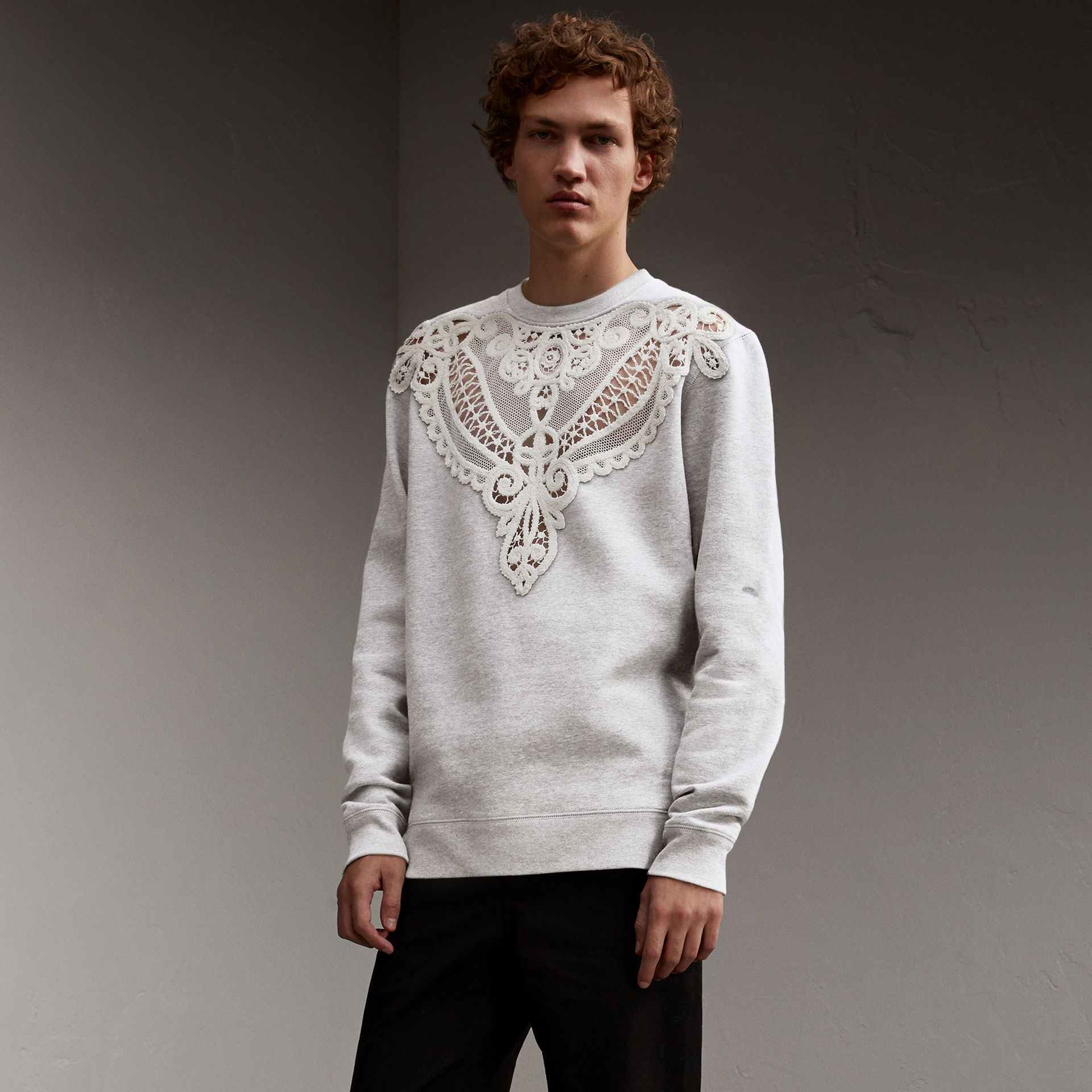 Unisex Lace Cutwork Sweatshirt in Light Grey Melange - Men | Burberry - gallery image 1
