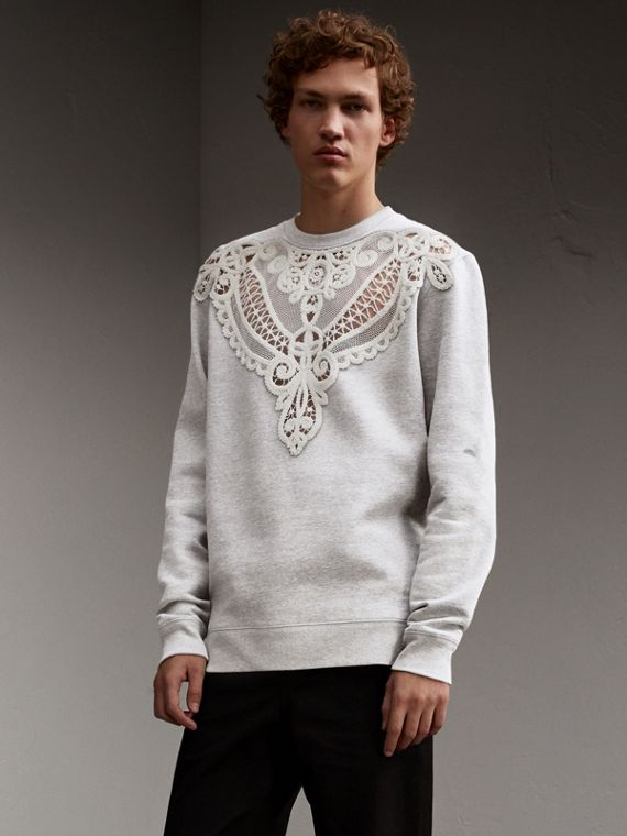 Unisex Lace Cutwork Sweatshirt - Men | Burberry Australia