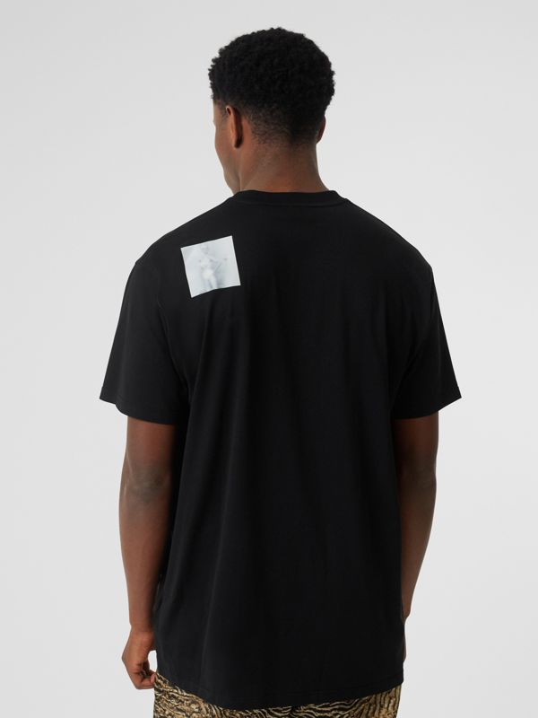 Montage Print Cotton Oversized T-shirt in Black - Men | Burberry United Kingdom - cell image 2