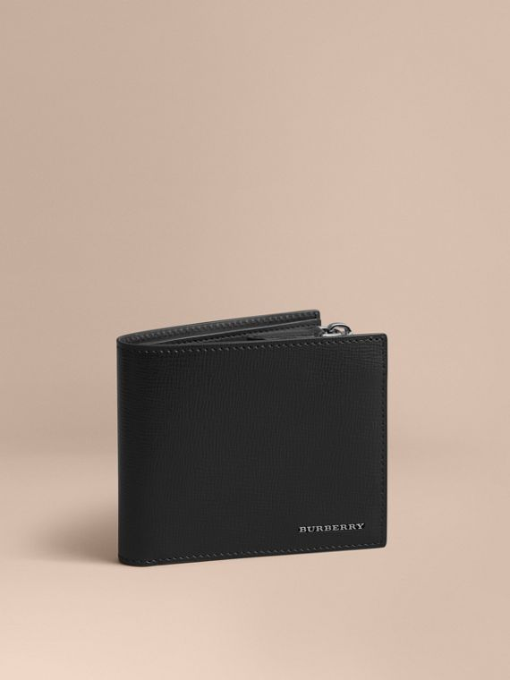 Leather International Bifold ID Coin Wallet in Black | Burberry Hong Kong