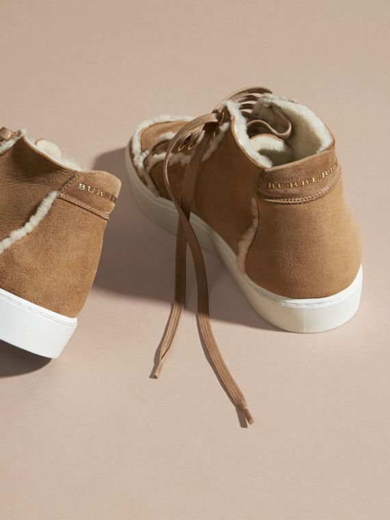 Marrone malto Sneaker alte in shearling - cell image 3