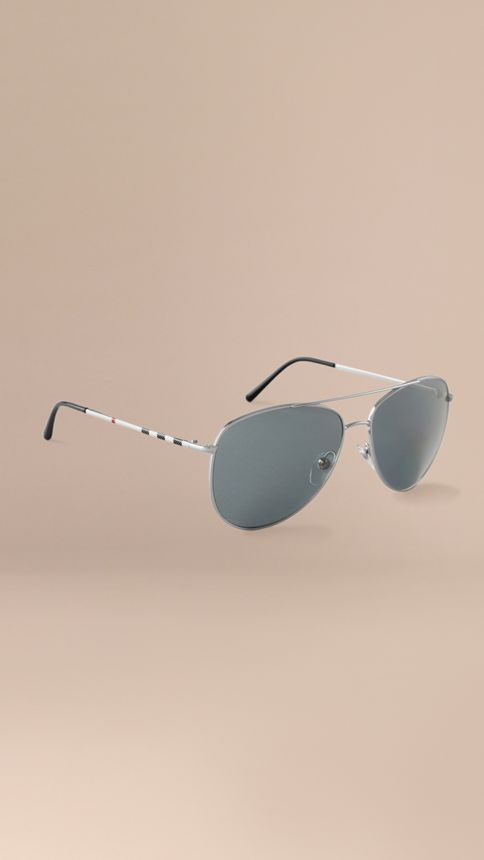 Silver Check Arm Aviator Sunglasses Silver - Image 1