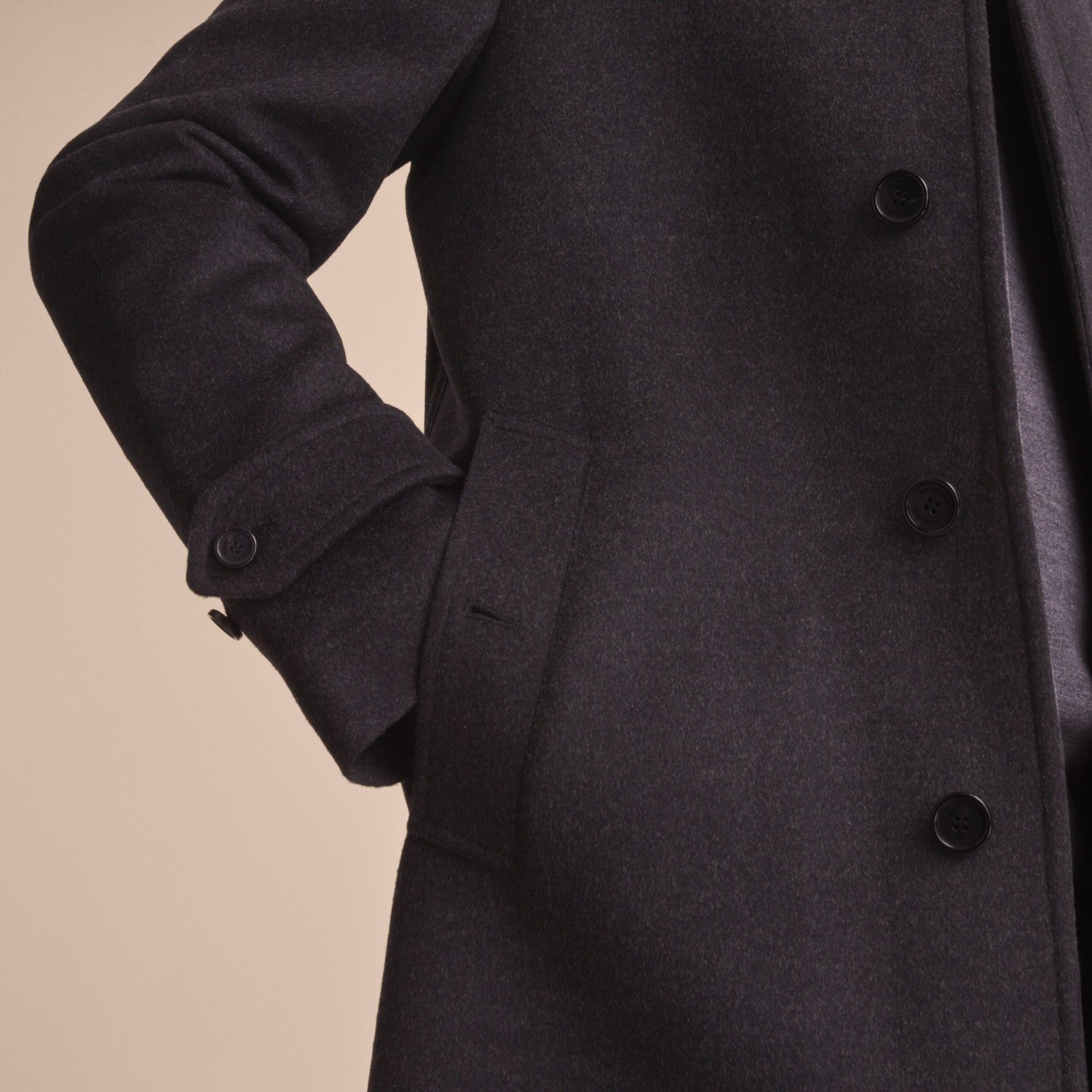 Virgin Wool Cashmere Car Coat Dark Grey Melange - gallery image 6