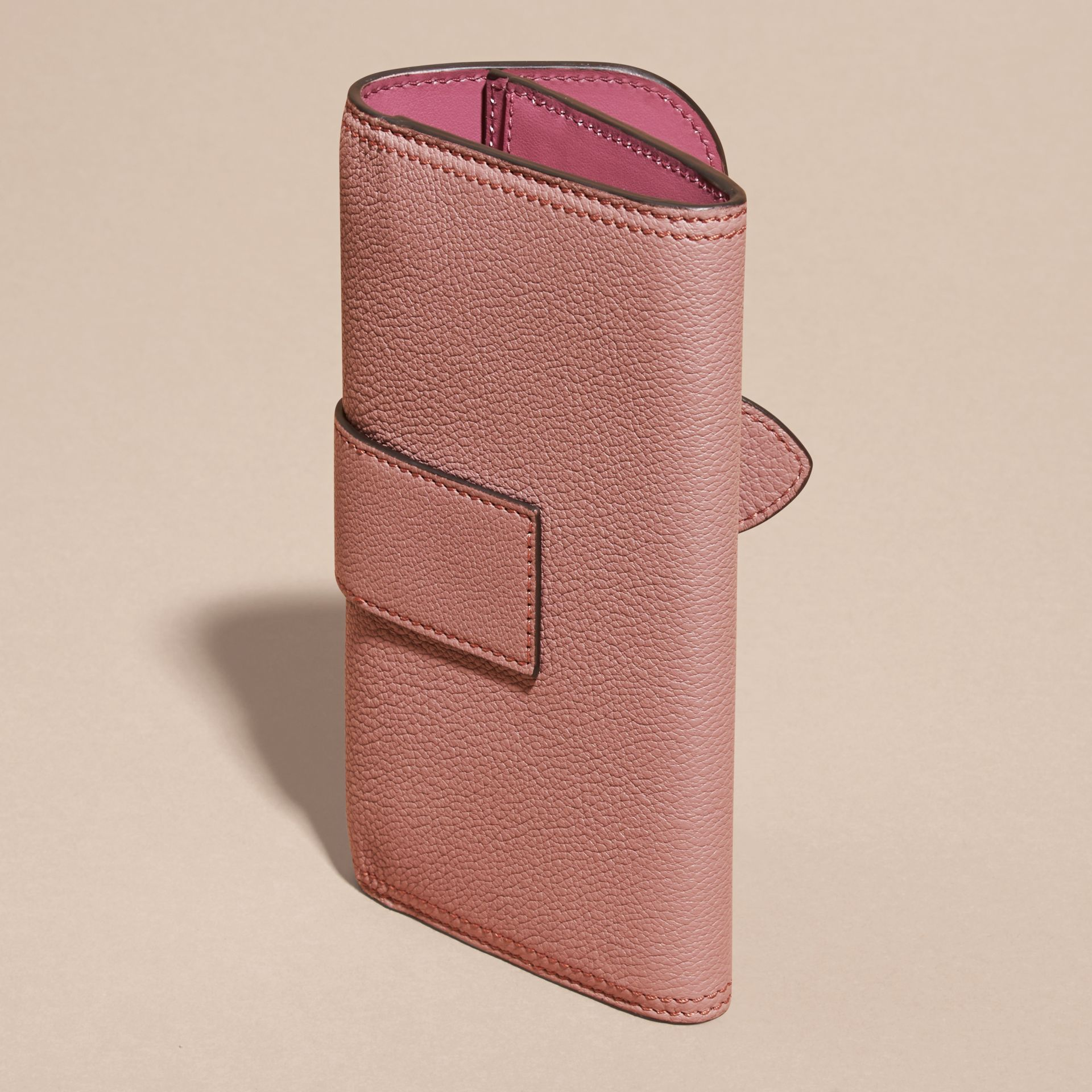 Dusty pink Textured Leather Continental Wallet Dusty Pink - gallery image 3