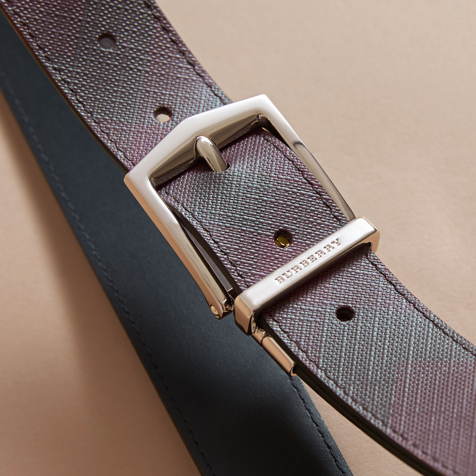 Reversible London Check and Leather Belt in Deep Claret/black - Men | Burberry - gallery image 4
