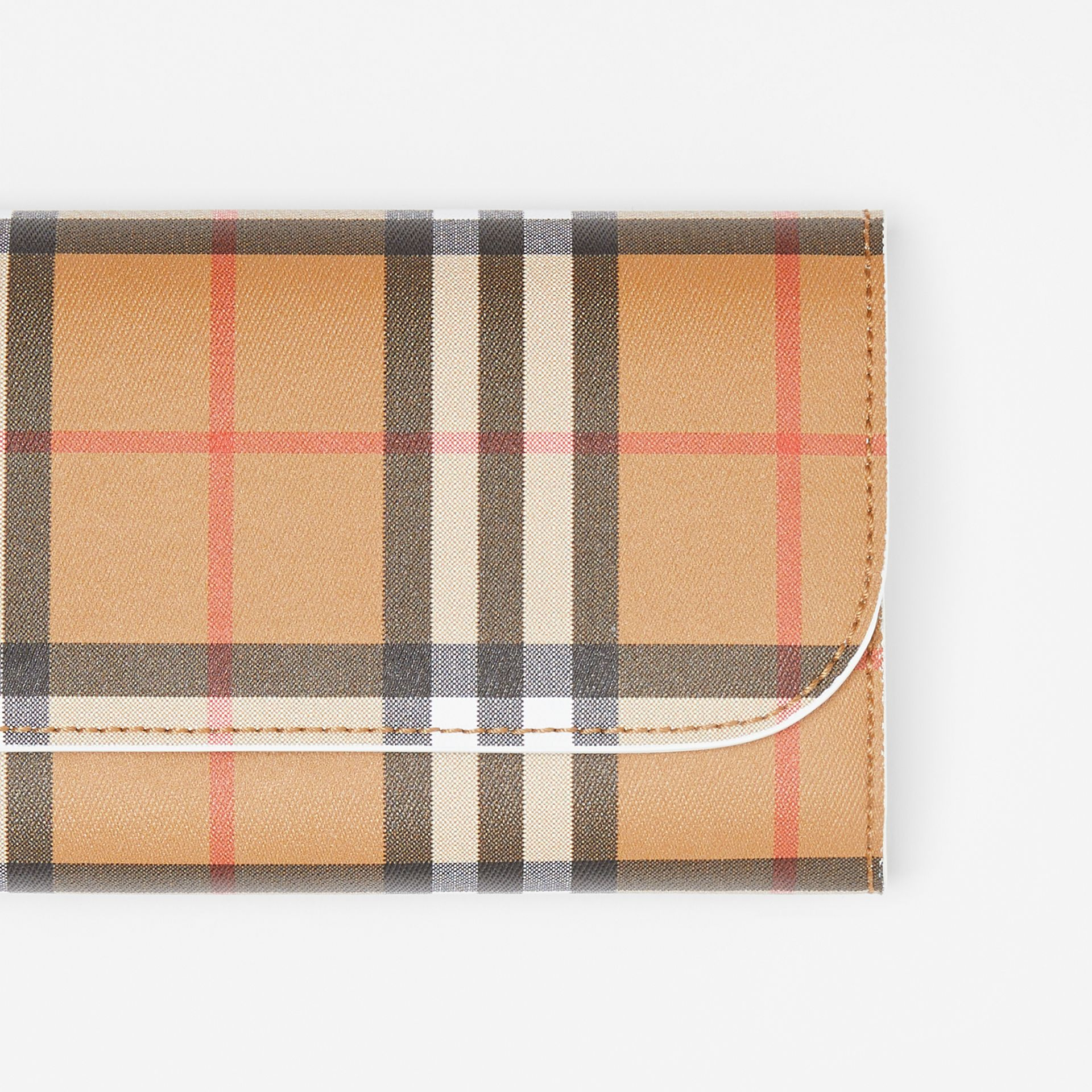 Vintage Check and Leather Continental Wallet in Chalk White - Women | Burberry Canada - gallery image 1