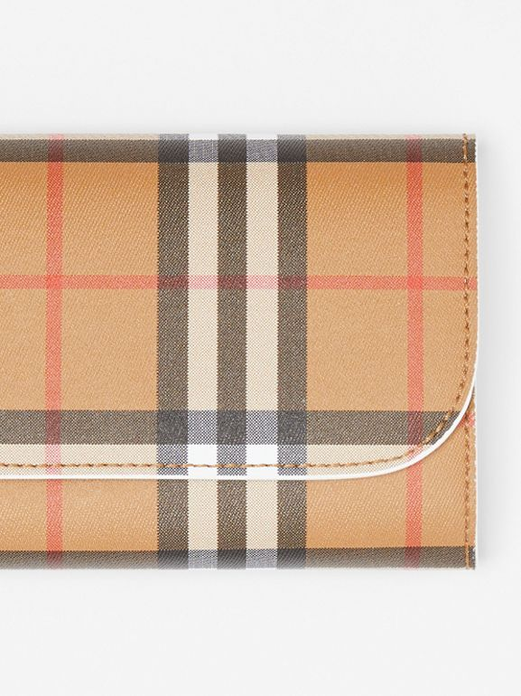 Vintage Check and Leather Continental Wallet in Chalk White - Women | Burberry Australia - cell image 1