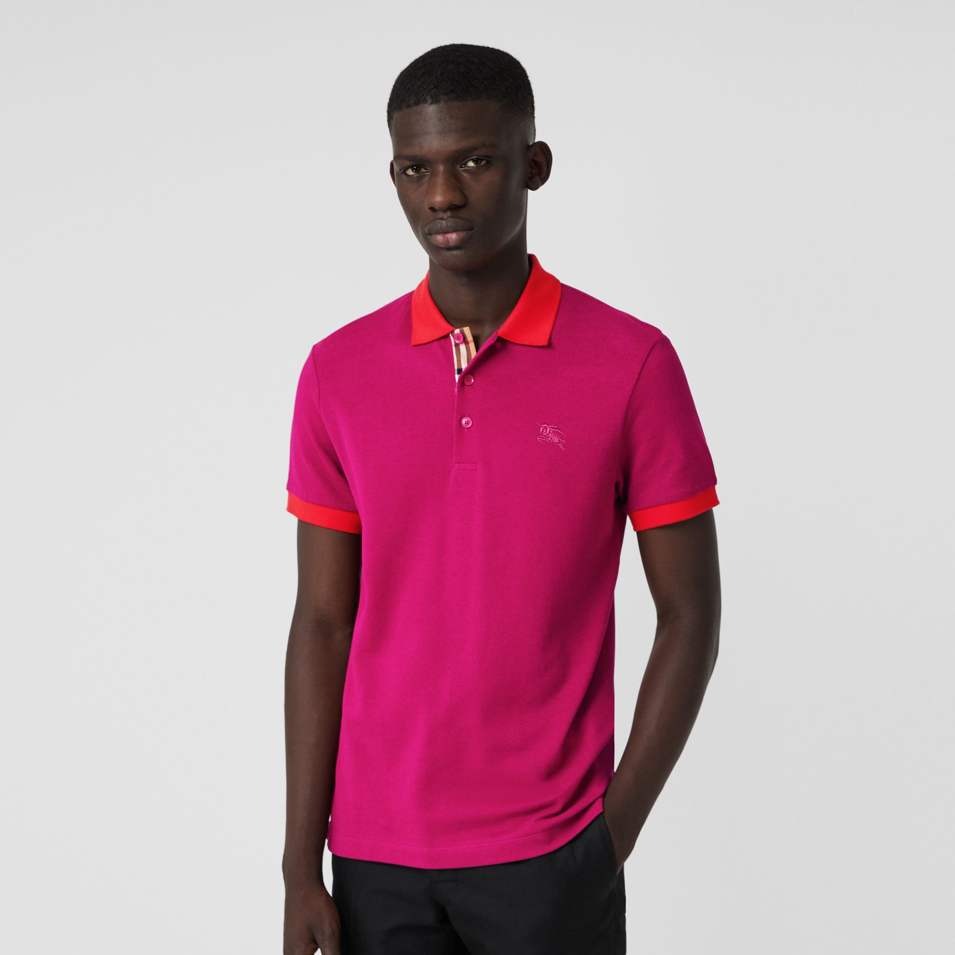Contrast Collar Cotton Polo Shirt in Plum Pink - Men | Burberry - gallery image 4