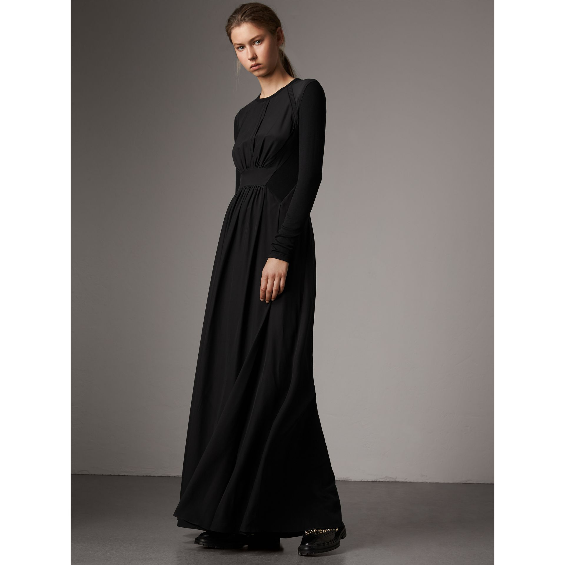 Silk Floor-length Gathered Dress in Black - Women | Burberry Singapore - gallery image 1