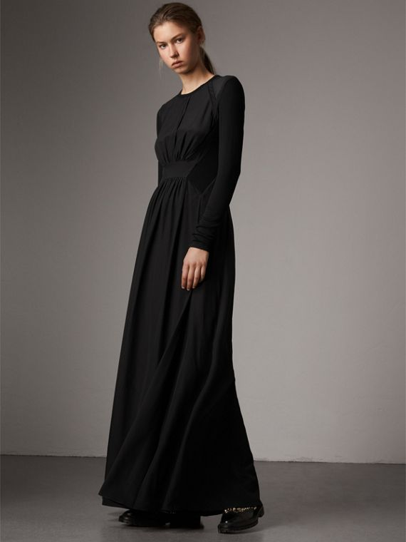 Silk Floor-length Gathered Dress in Black