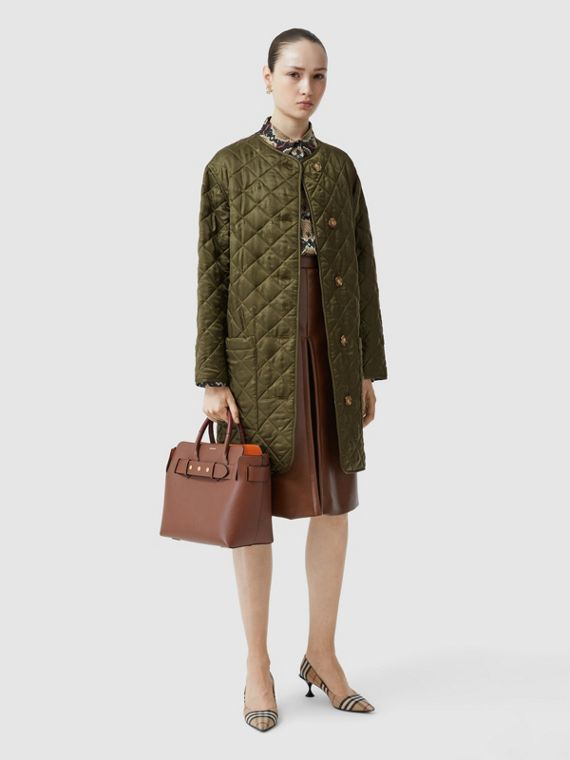 Logo Jacquard Diamond Quilted Coat in Olive