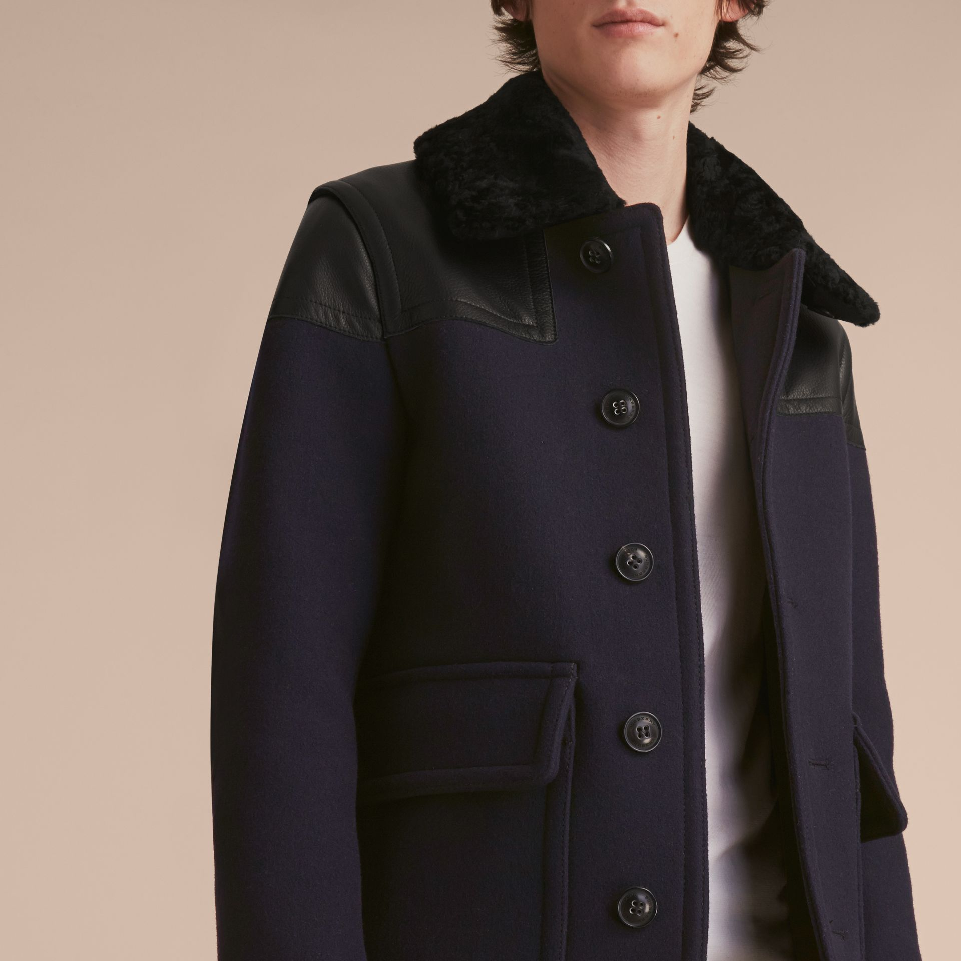 Pea Coat with Detachable Shearling Topcollar - gallery image 6