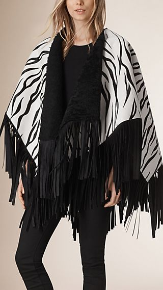 Shearling Lined Animal Print Calfskin Poncho