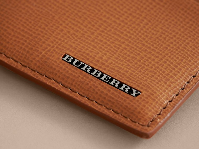 London Leather Money Clip Card Case in Tan - Men | Burberry United Kingdom - cell image 1