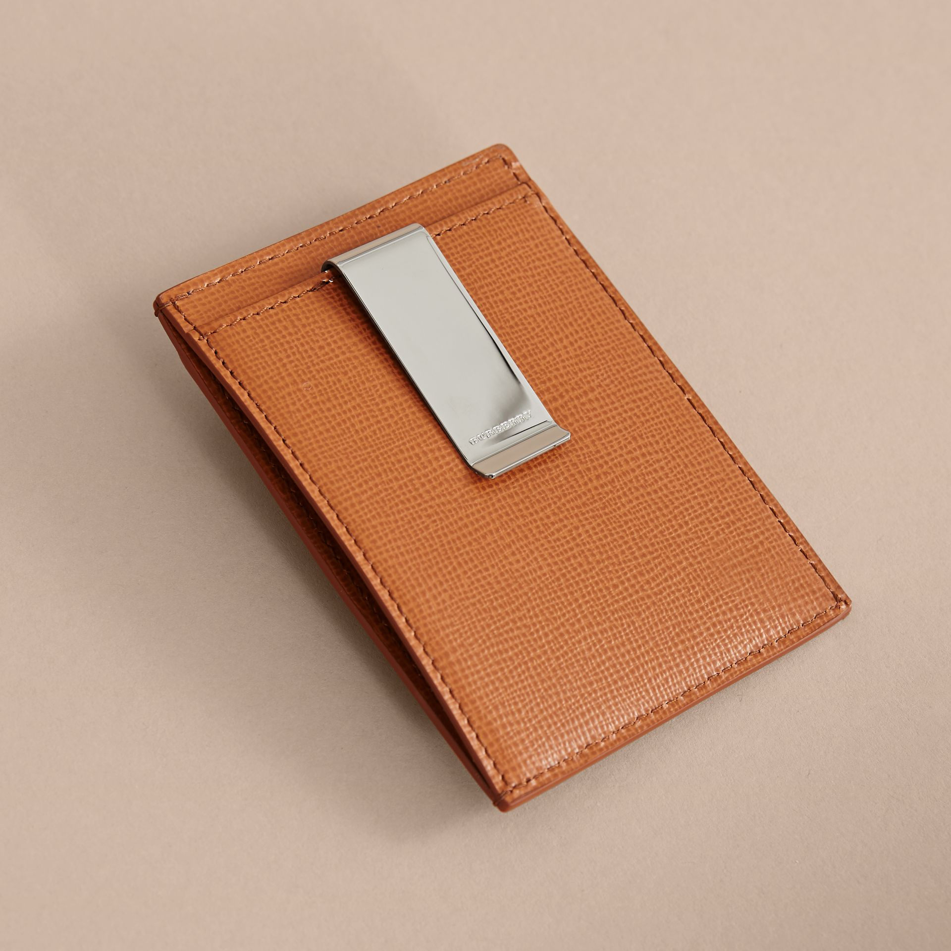 London Leather Money Clip Card Case in Tan - Men | Burberry - gallery image 3