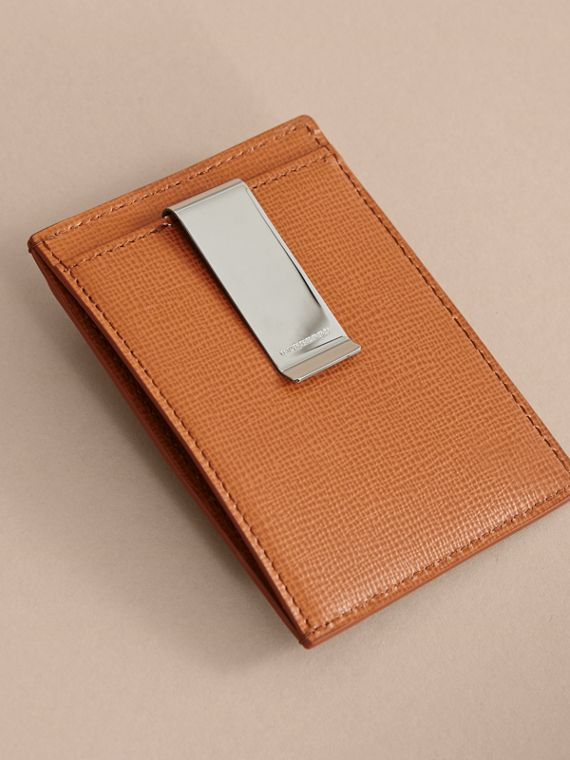 London Leather Money Clip Card Case in Tan - Men | Burberry - cell image 2
