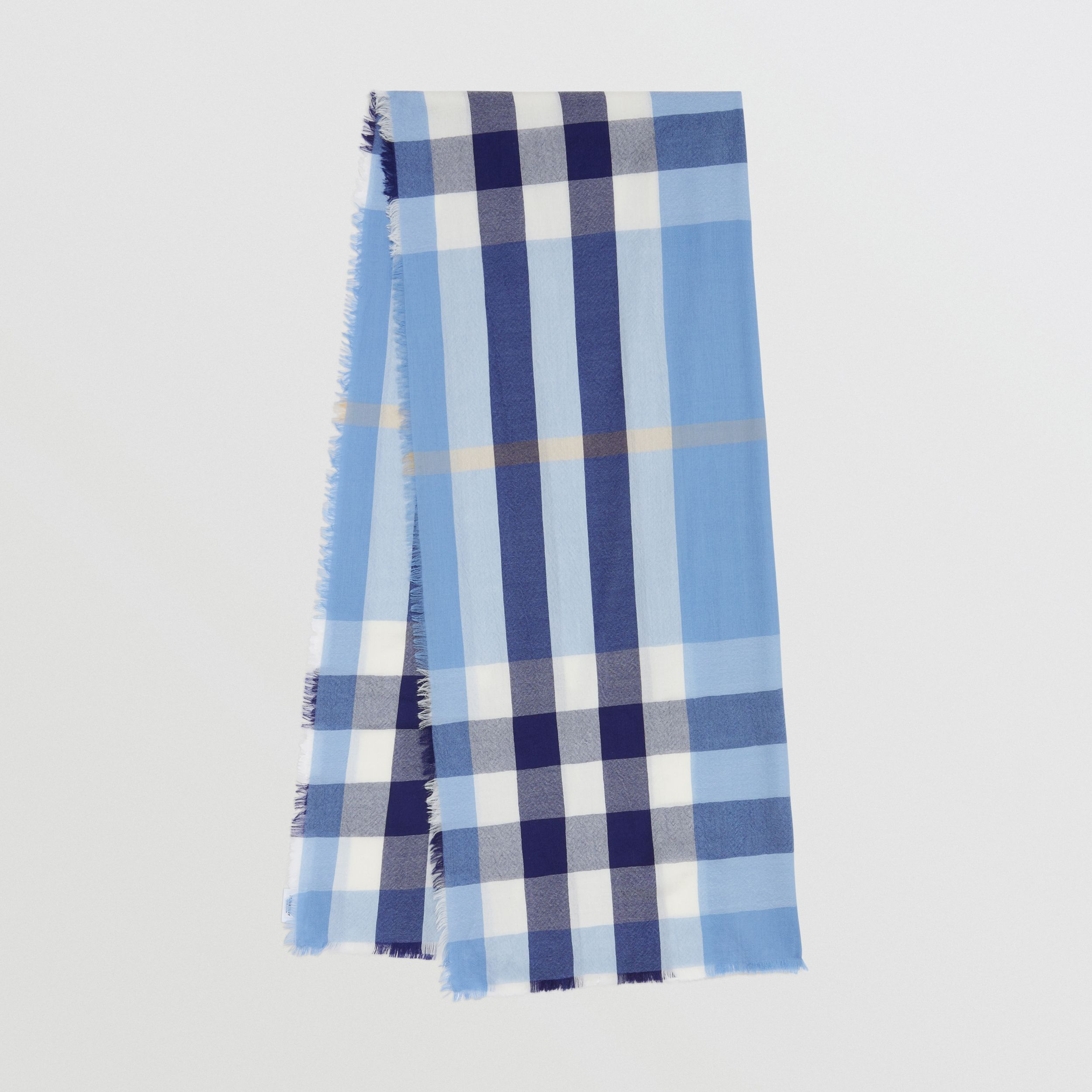 Lightweight Check Cashmere Scarf in English Bluebell | Burberry - 1