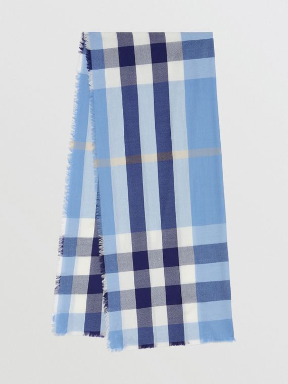 Легкий шарф из кашемира в клетку (Английский Гиацинт)
