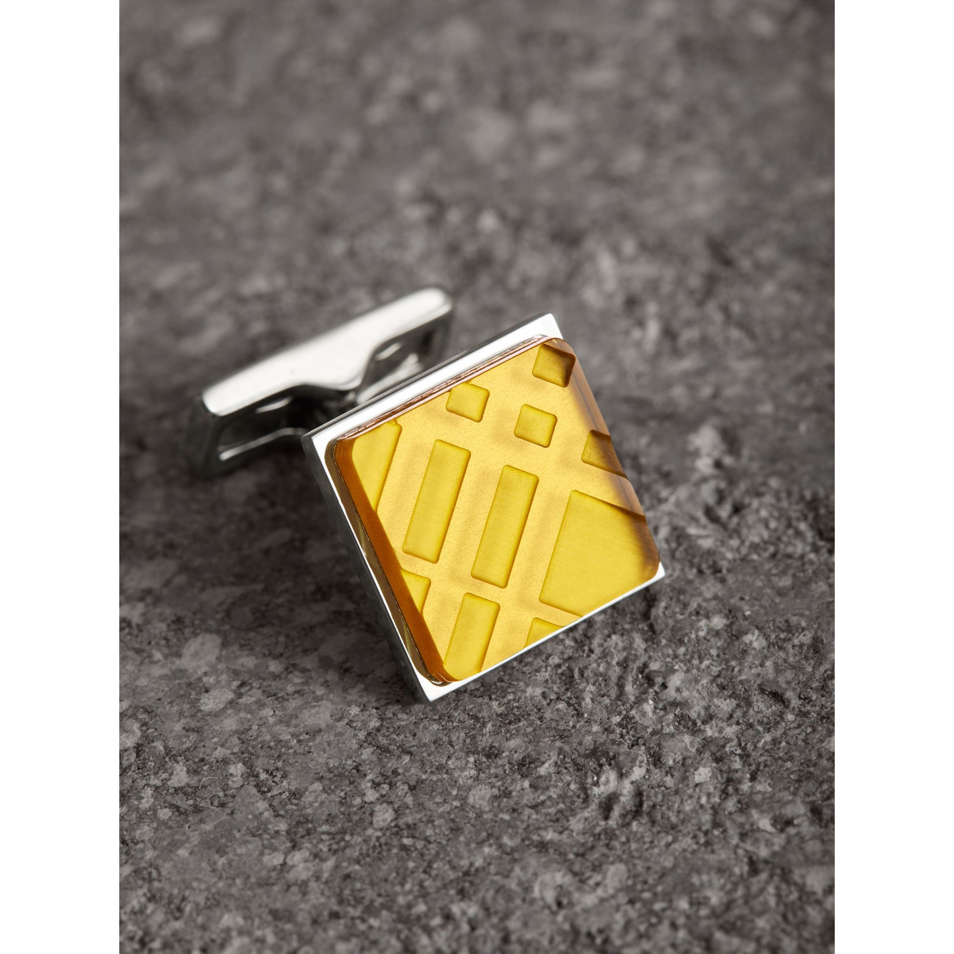 Check-engraved Square Cufflinks in Bright Yellow - Men | Burberry United States - gallery image 1