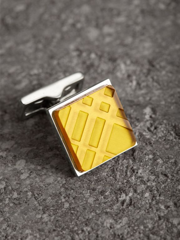 Check-engraved Square Cufflinks in Bright Yellow - Men | Burberry - cell image 1