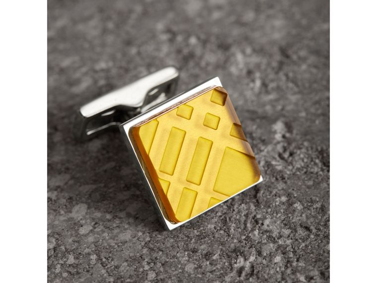 Check-engraved Square Cufflinks in Bright Yellow - Men | Burberry United Kingdom - cell image 1