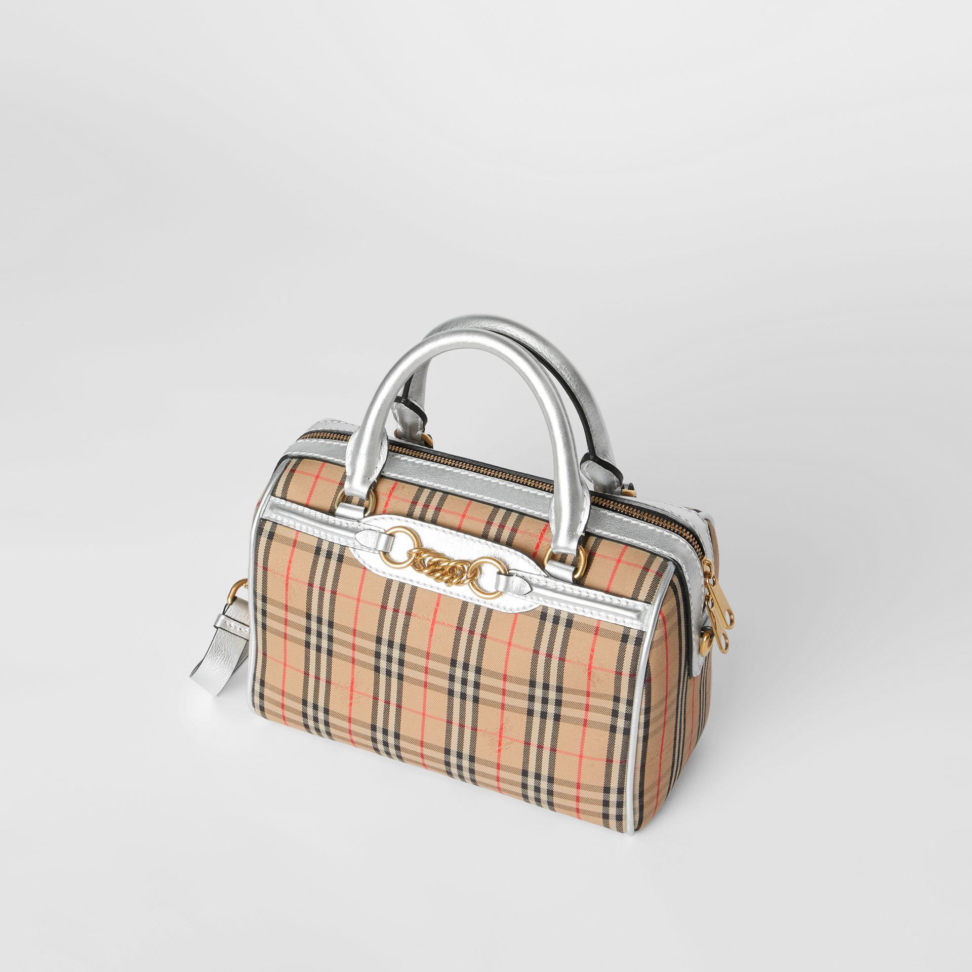 The Small 1983 Check Link Bowling Bag in Silver - Women | Burberry - gallery image 4