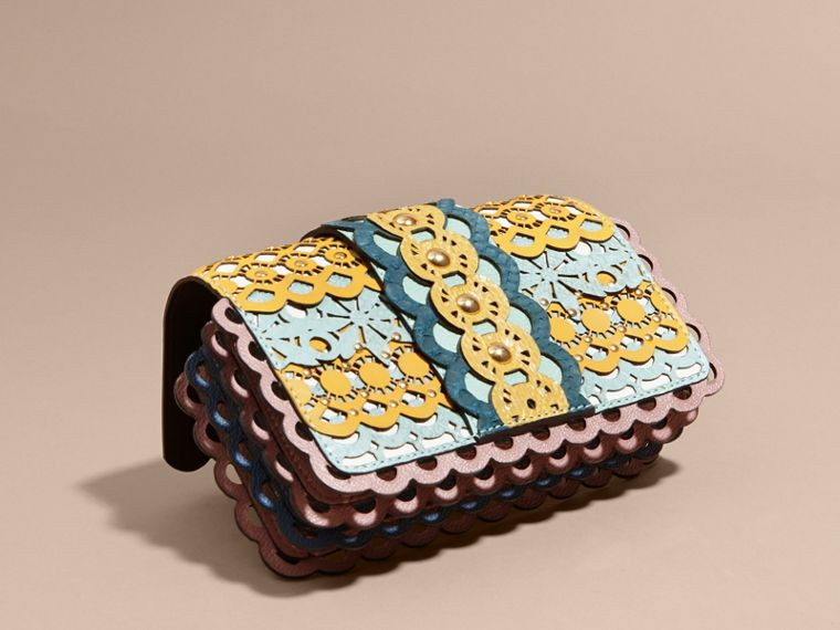 The Small Buckle Bag in Laser-cut Leather and Snakeskin - cell image 4