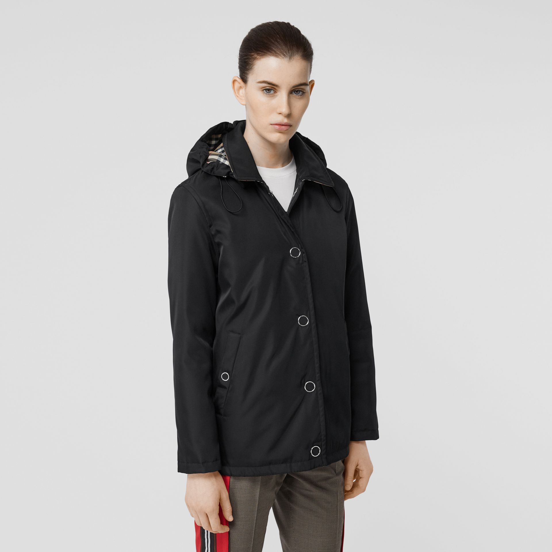 Detachable Hood ECONYL® Jacket in Black - Women | Burberry - gallery image 0