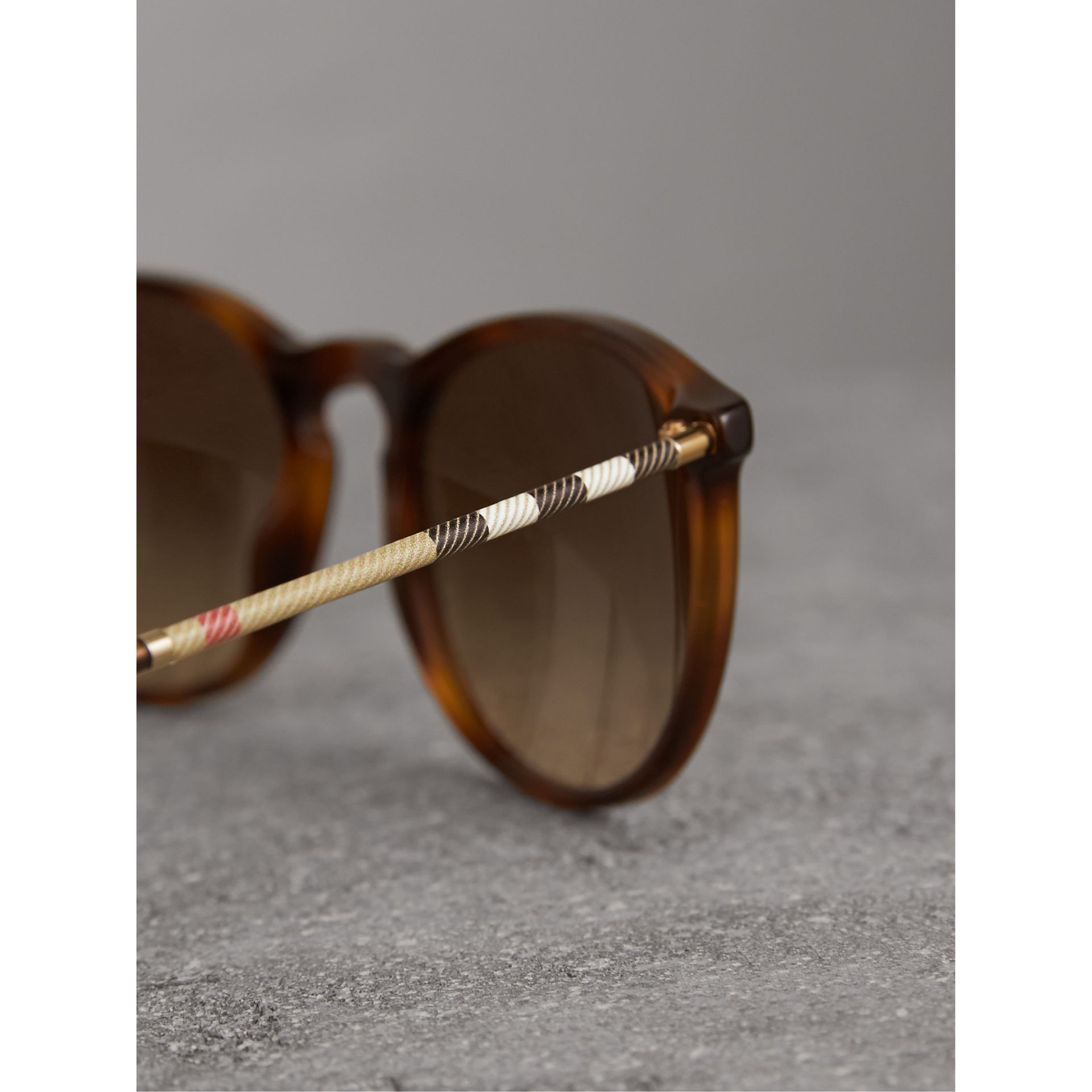 Check Detail Round Frame Sunglasses in Light Brown - Men | Burberry Singapore - gallery image 1