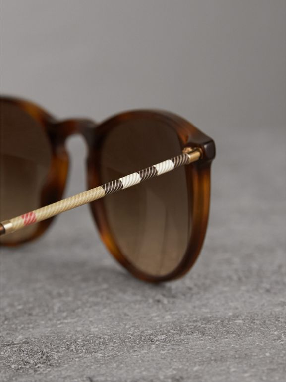 Check Detail Round Frame Sunglasses in Light Brown - Men | Burberry United Kingdom - cell image 1