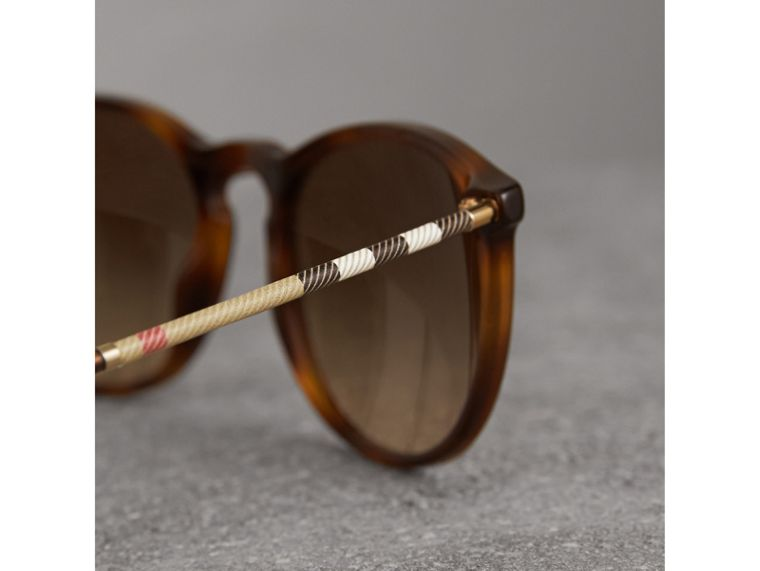 Check Detail Round Frame Sunglasses in Light Brown - Men | Burberry Hong Kong - cell image 1