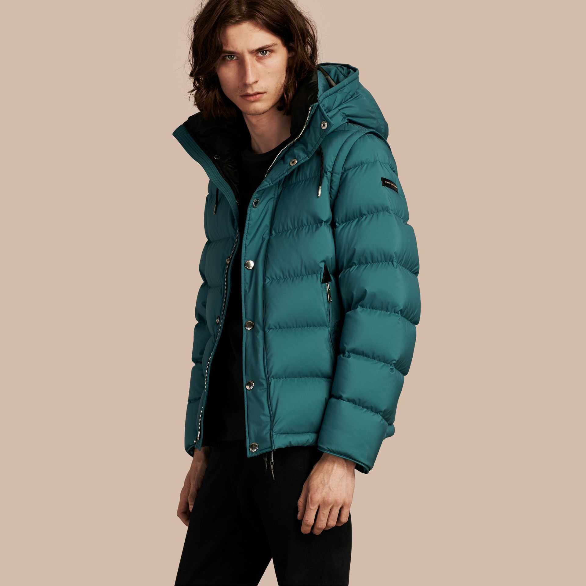 Down-filled Hooded Jacket with Detachable Sleeves in Dusty Teal - gallery image 1