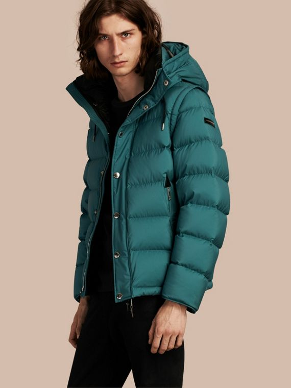 Down-filled Hooded Jacket with Detachable Sleeves Dusty Teal
