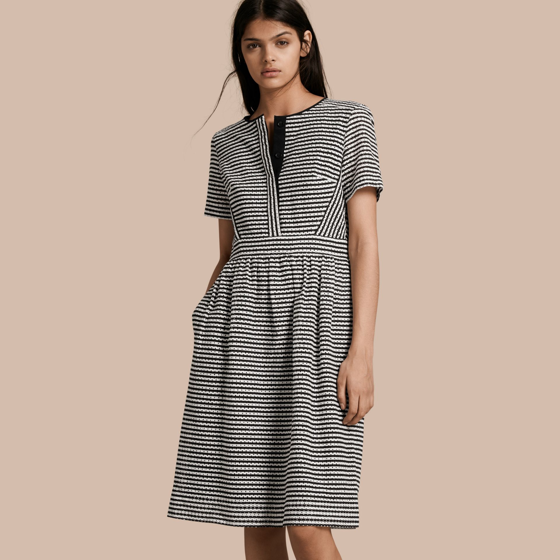 Black Striped Cotton Broderie Dress - gallery image 1