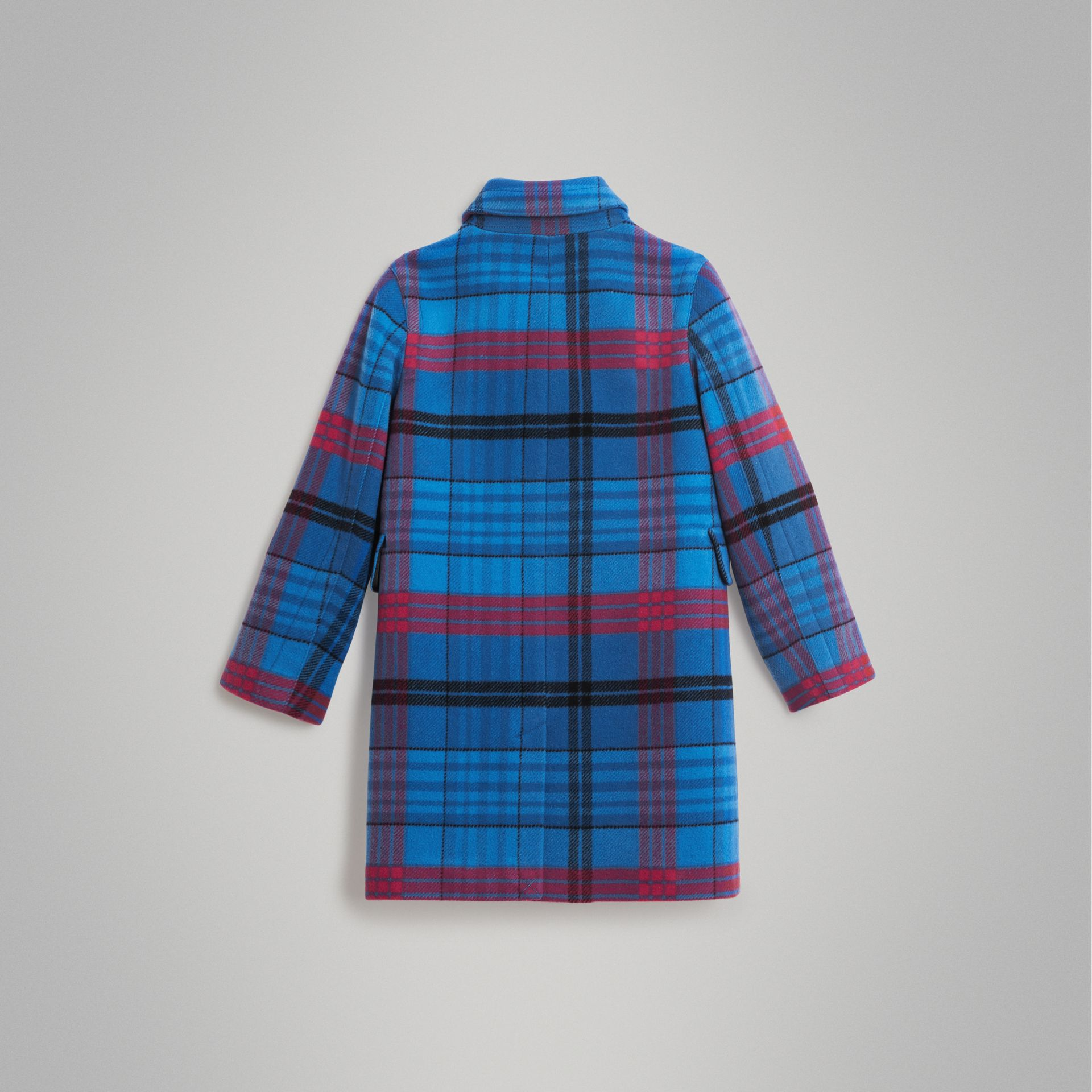 Check Wool Tailored Coat in Mineral Blue | Burberry - gallery image 3