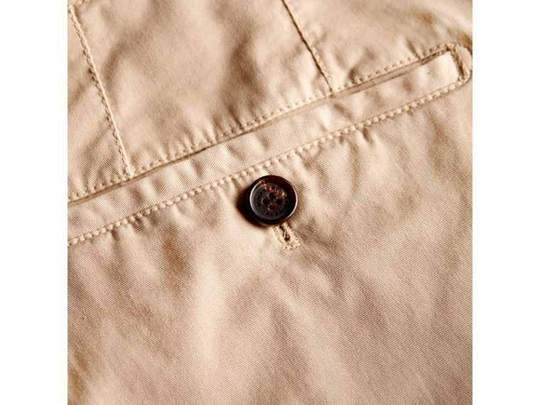 Slim Fit Stretch Cotton Chinos in Stone - Men | Burberry - cell image 1