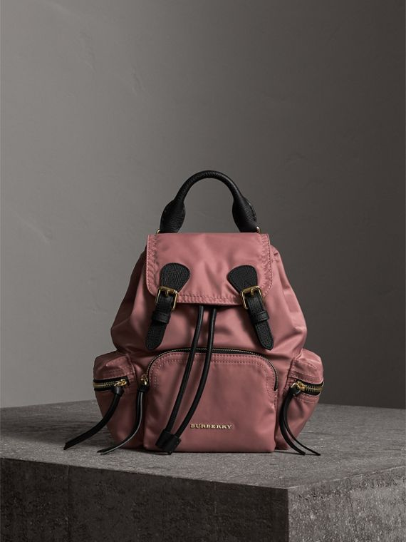 The Small Rucksack in Technical Nylon and Leather in Mauve Pink - Women | Burberry