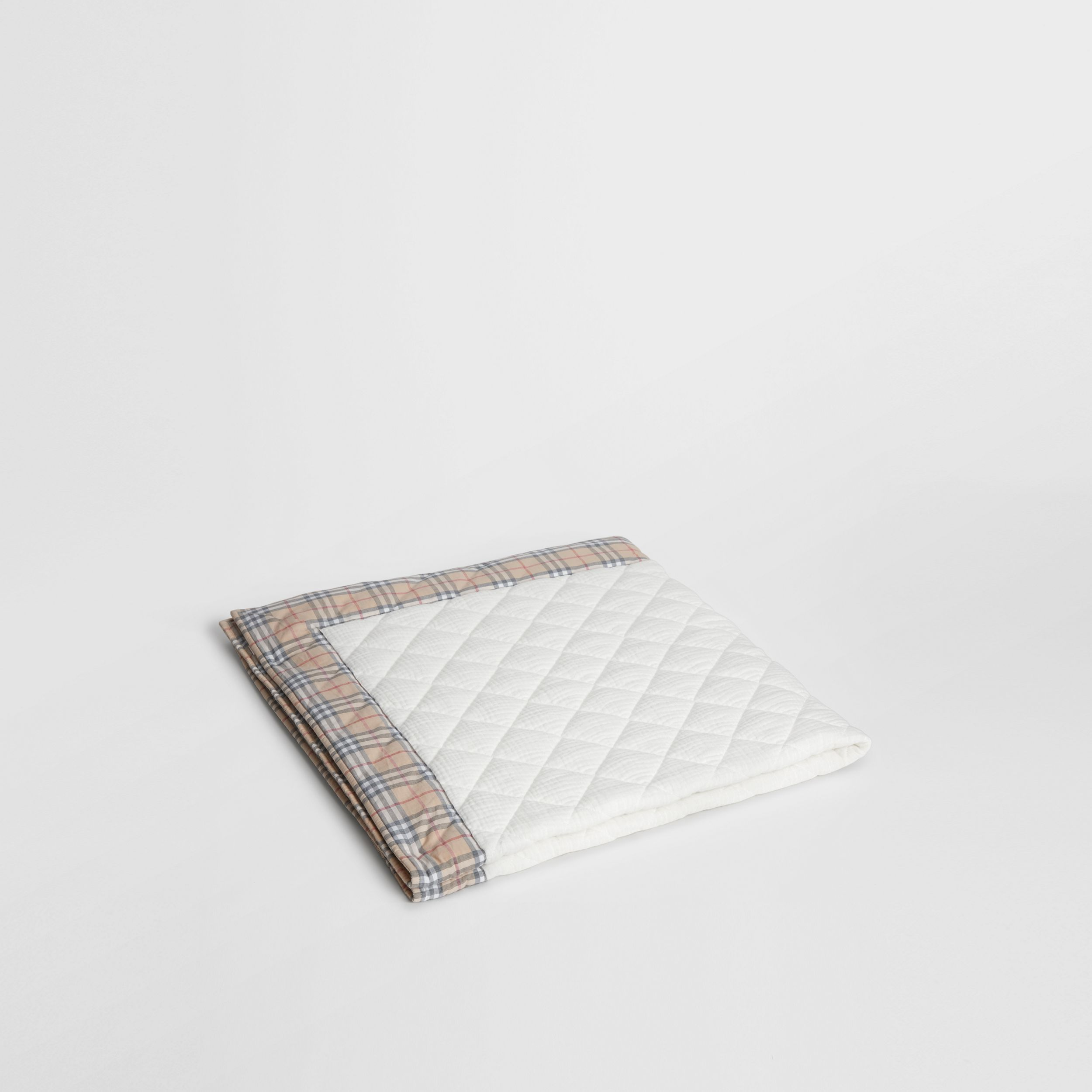 Diamond Quilted Vintage Check Cotton Baby Blanket in White - Children | Burberry - 1