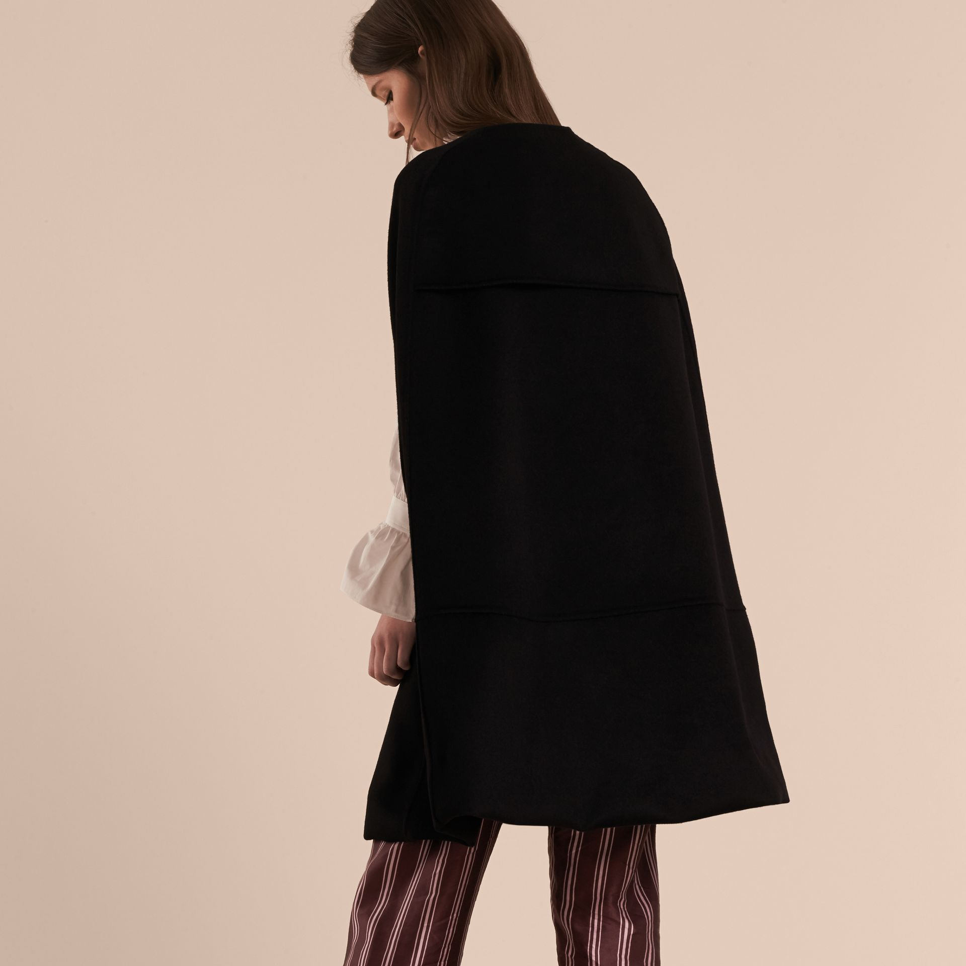 Black Panelled Cashmere Cape with Buckle Detail - gallery image 3