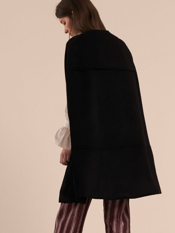 Black Panelled Cashmere Cape with Buckle Detail - cell image 2