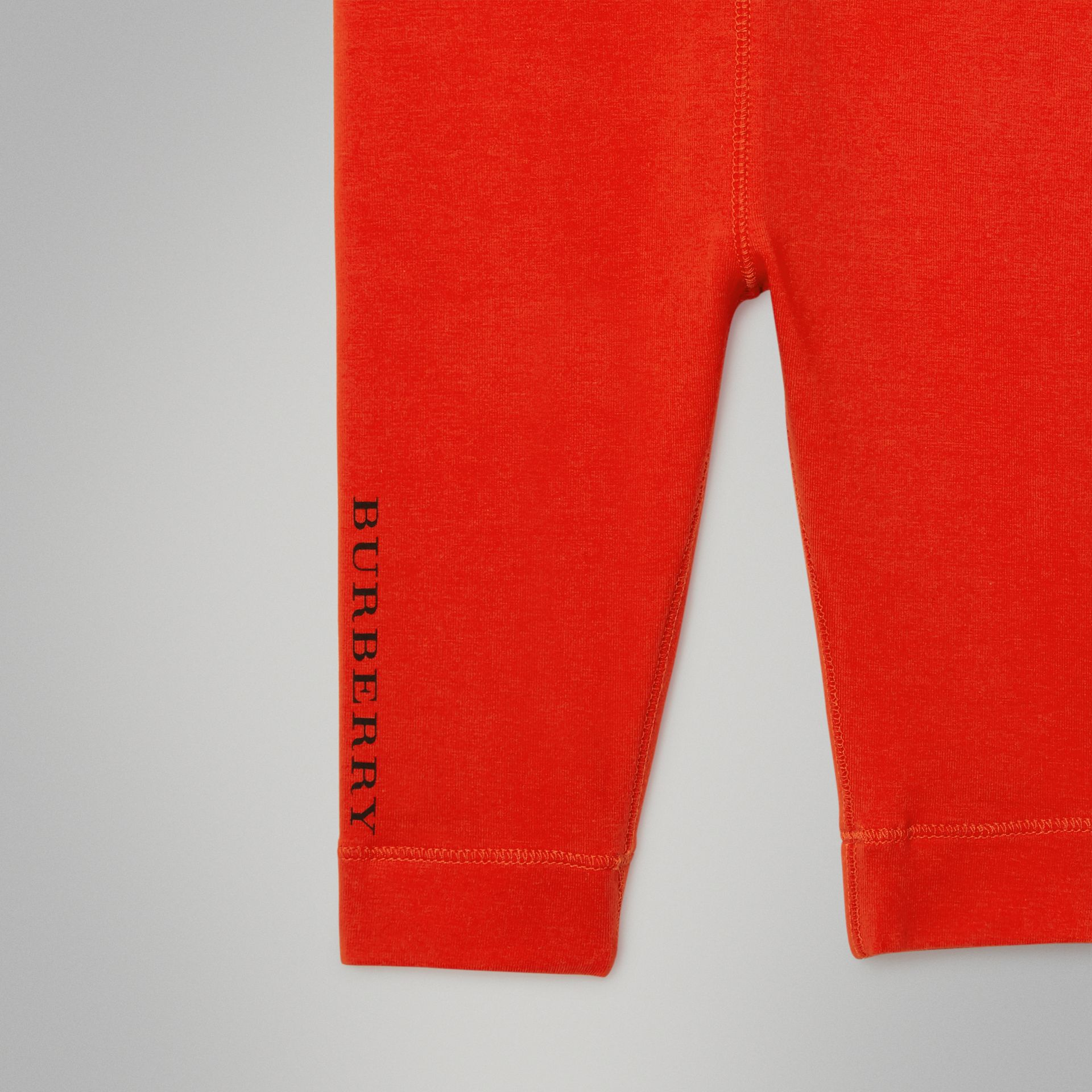 Logo Detail Stretch Cotton Leggings in Orange Red - Children | Burberry - gallery image 4