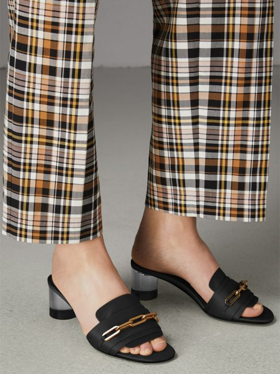Link Detail Satin Heeled Slides in Black - Women | Burberry Singapore - cell image 2