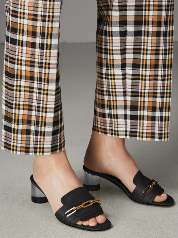 Link Detail Satin Heeled Slides in Black - Women | Burberry Canada - cell image 2
