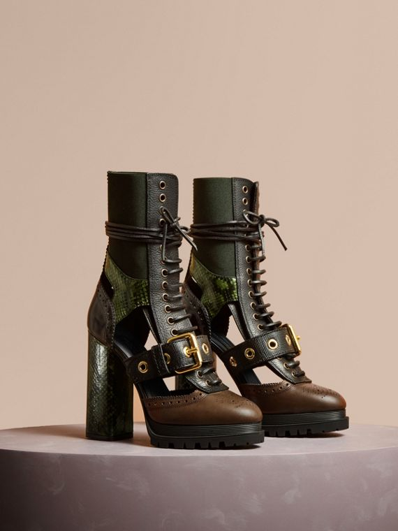 Leather and Snakeskin Cut-out Platform Boots Deep Green